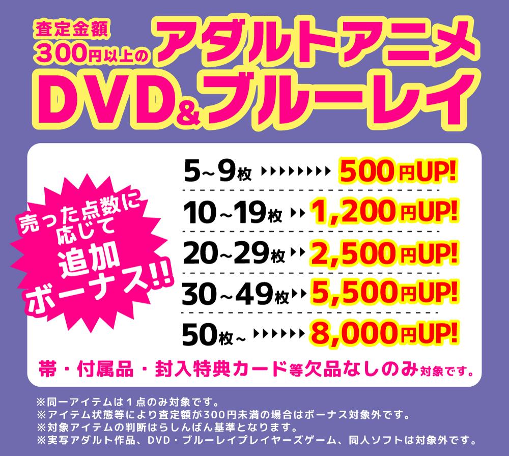 査定金額300円以上のアダルトアニメを売った点数に応じてボーナスUP!!